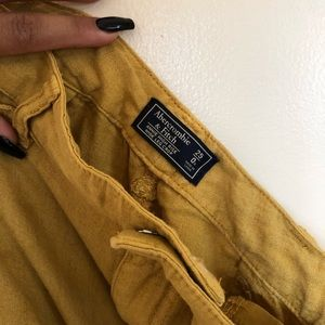 Abercrombie and Fitch mustard Wide Leg Linen Pants